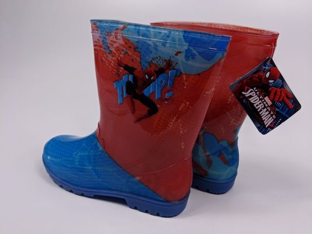 Marvel Spiderman Kinder Gummistiefel Regenstiefel - blau/rot - LED - Gr. 26-33