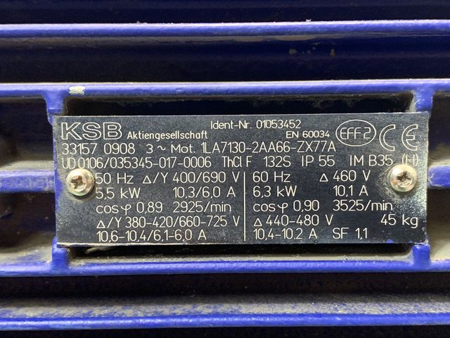 KSB Kreiselpumpe ETABLOC-GN 40-160/552.2 Pumpe 1LA7130-2AA66-ZX77A Elektromotor – Bild 6
