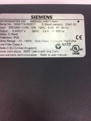 Siemens 6SE6420-2AB17-5AA1 Frequenzumrichter Micromaster 420 0,75 kW – Bild 5