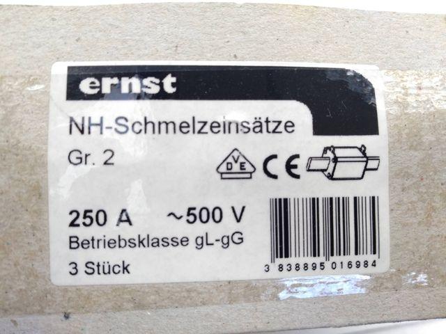 3 Stück Ernst NH-Sicherung Sicherung Panzersicherung Sicherungseinsatz 250A 500V – Bild 3