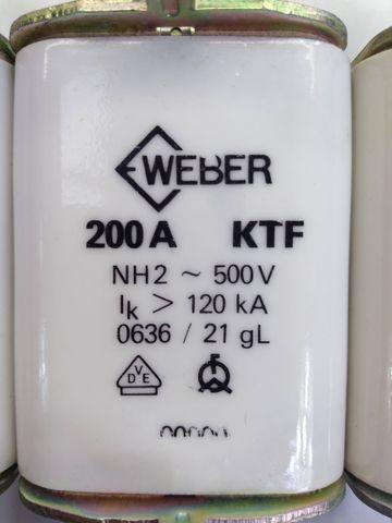 3 Stück Weber NH-Sicherung Sicherung Sicherungseinsatz Panzersicherung 200A 500V – Bild 2