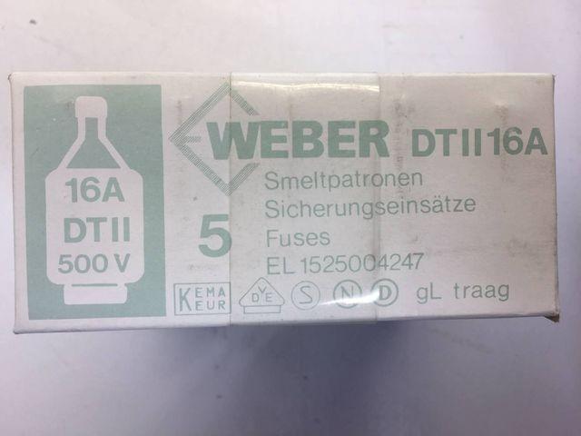 25 Stück Weber  DT II 16A gG 500V Sicherungseinsätze Schmelzsicherung Sicherung  – Bild 2