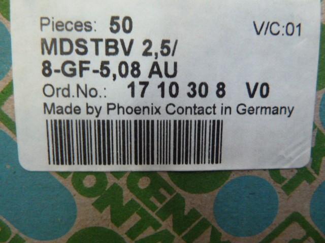 50 Stück Phoenix Contact 0707057 MDSTBV 2,5/ 8-GF-5,08 AU Grundleisten  – Bild 1