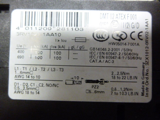 Siemens 3RV1021-1AA10 Leistungsschutzschalter Schutzschalter Schalter – Bild 3