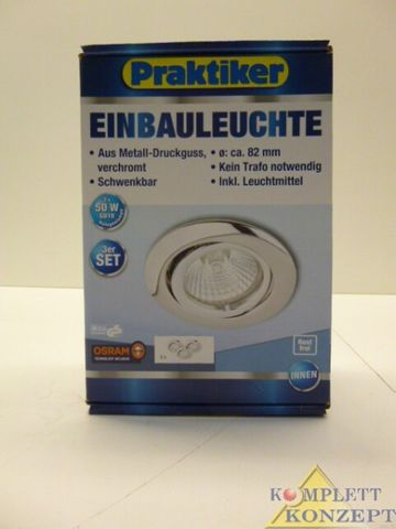 3er Set 12V 50W Einbauleuchte Einbaustrahler chrom schwenkbar inkl. Leuchtmittel *49,99€  – Bild 1