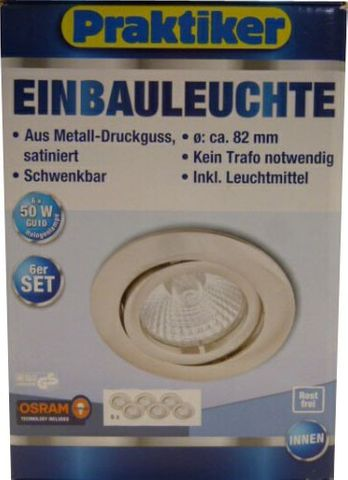6er Set Einbauleuchte Halogen Einbaustrahler 50W Metall satiniert inkl. Leuchtmittel *94,99€ – Bild 1