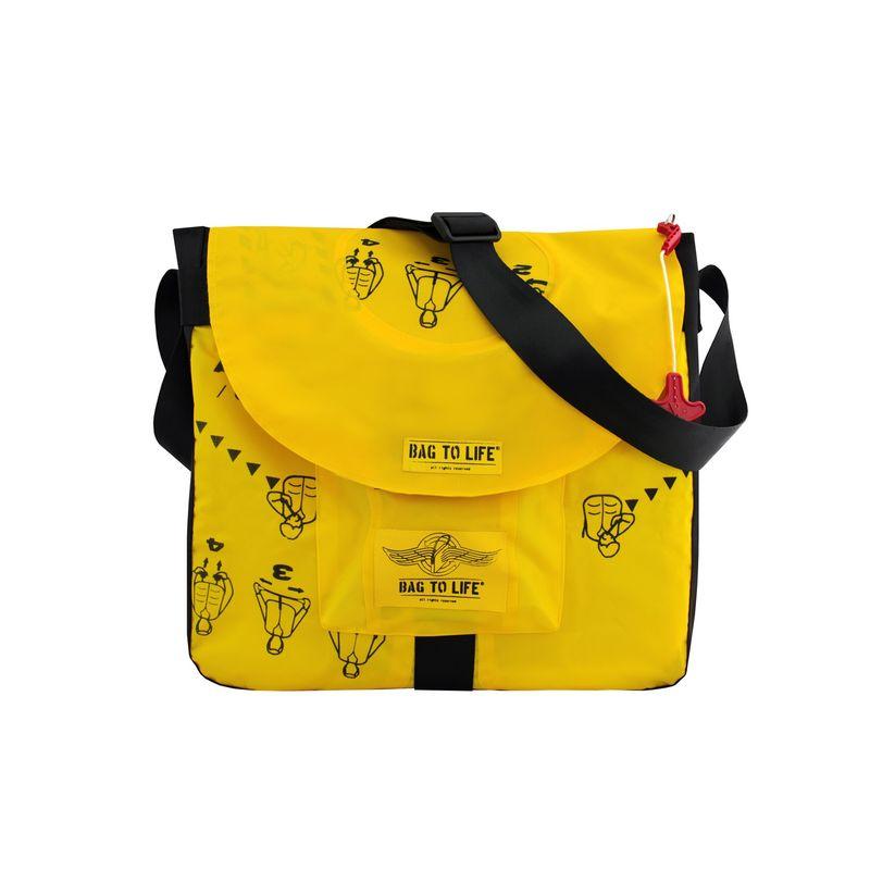 BAG TO LIFE Messenger Bag Jumbo Laptop Umhängetasche UNIKAT Upcycling aus einer Rettungsweste – Bild 1
