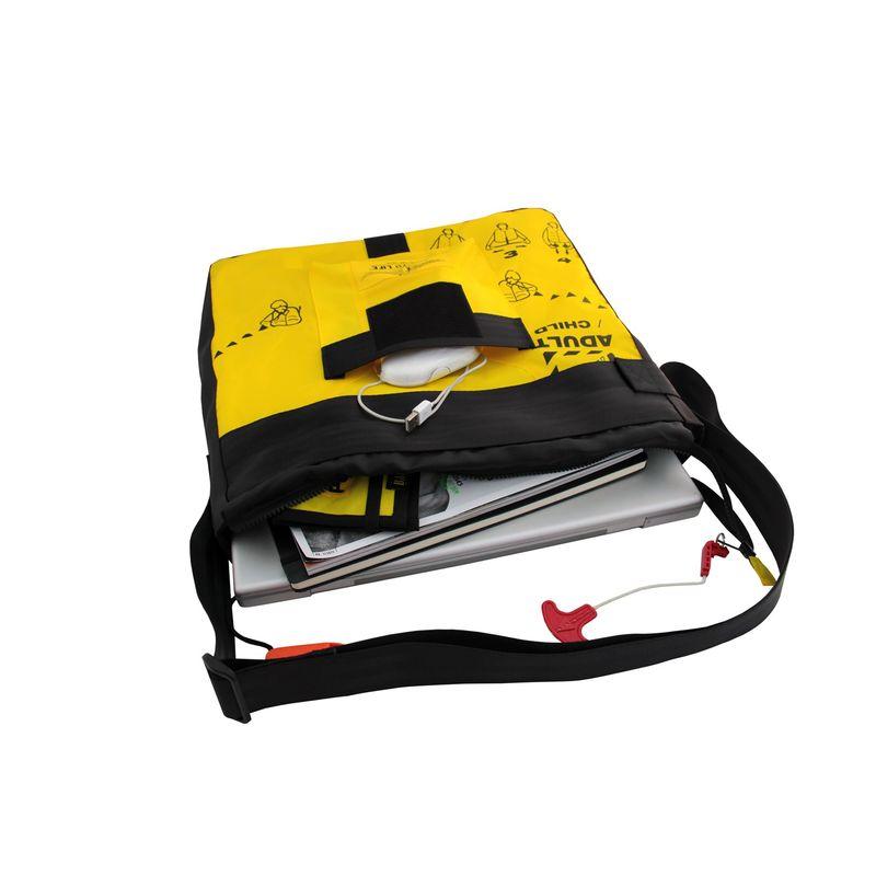BAG TO LIFE Messenger Bag Jumbo Laptop Umhängetasche UNIKAT Upcycling aus einer Rettungsweste – Bild 3