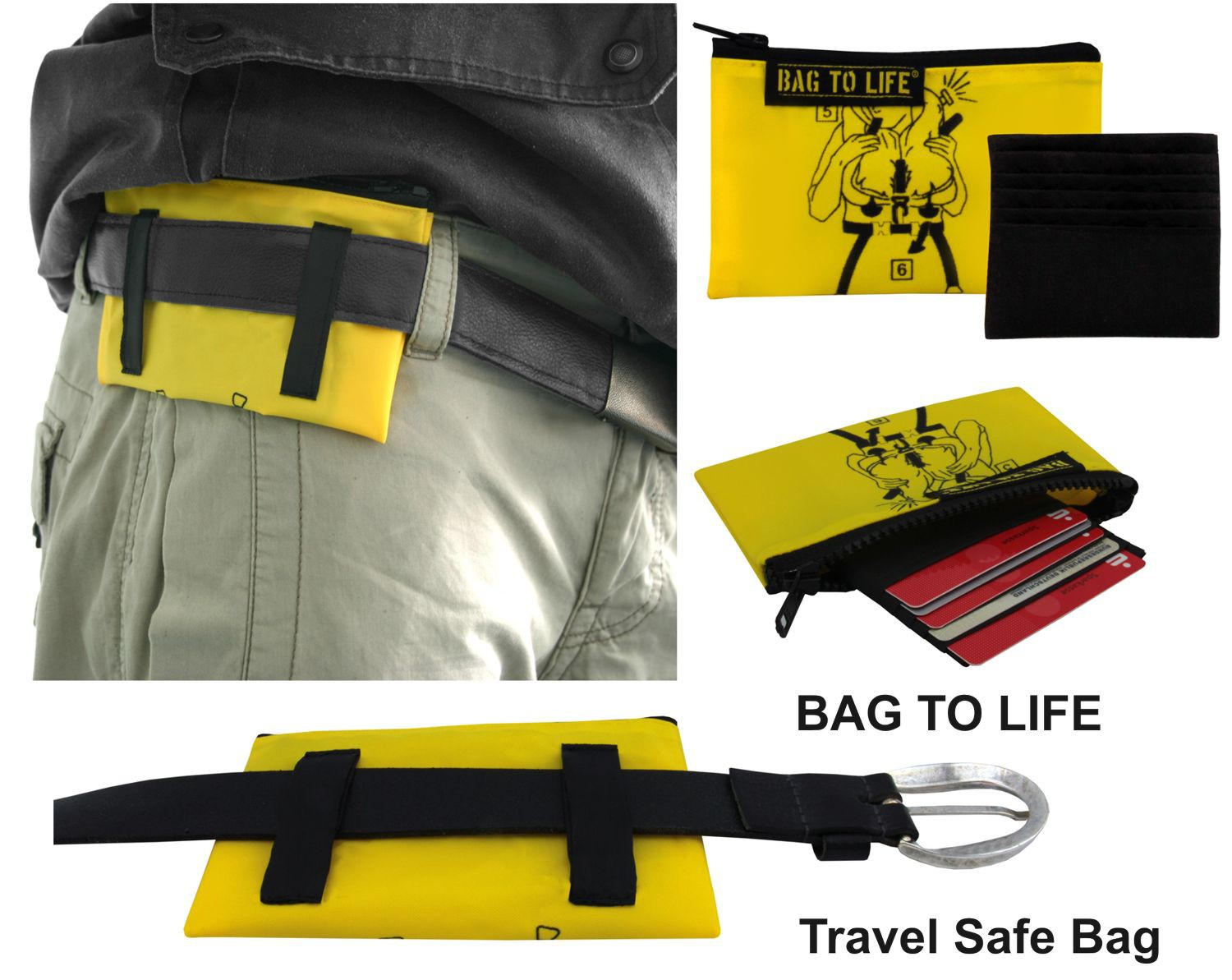 BAG TO LIFE Brieftasche TRAVEL SAFE BAG Geldbeutel Wallet Reisegeldbeutel Portemonnaie Upcycling aus einer Rettungsweste