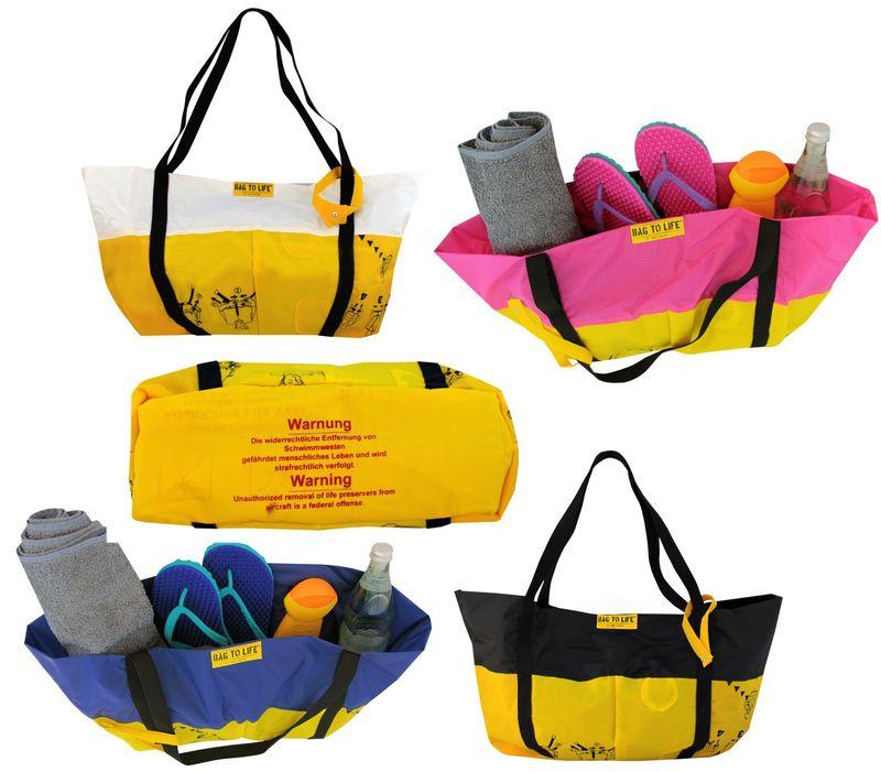 BAG TO LIFE Beach Bag Airlie Strandtasche Shopper UNIKAT Upcycling aus einer Rettungsweste – Bild 1