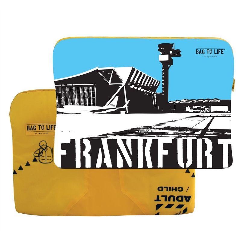 "BAG TO LIFE Laptop Sleeve ""Frankfurt"" Laptoptasche UNIKAT Upcycling aus einer Rettungsweste – Bild 1"