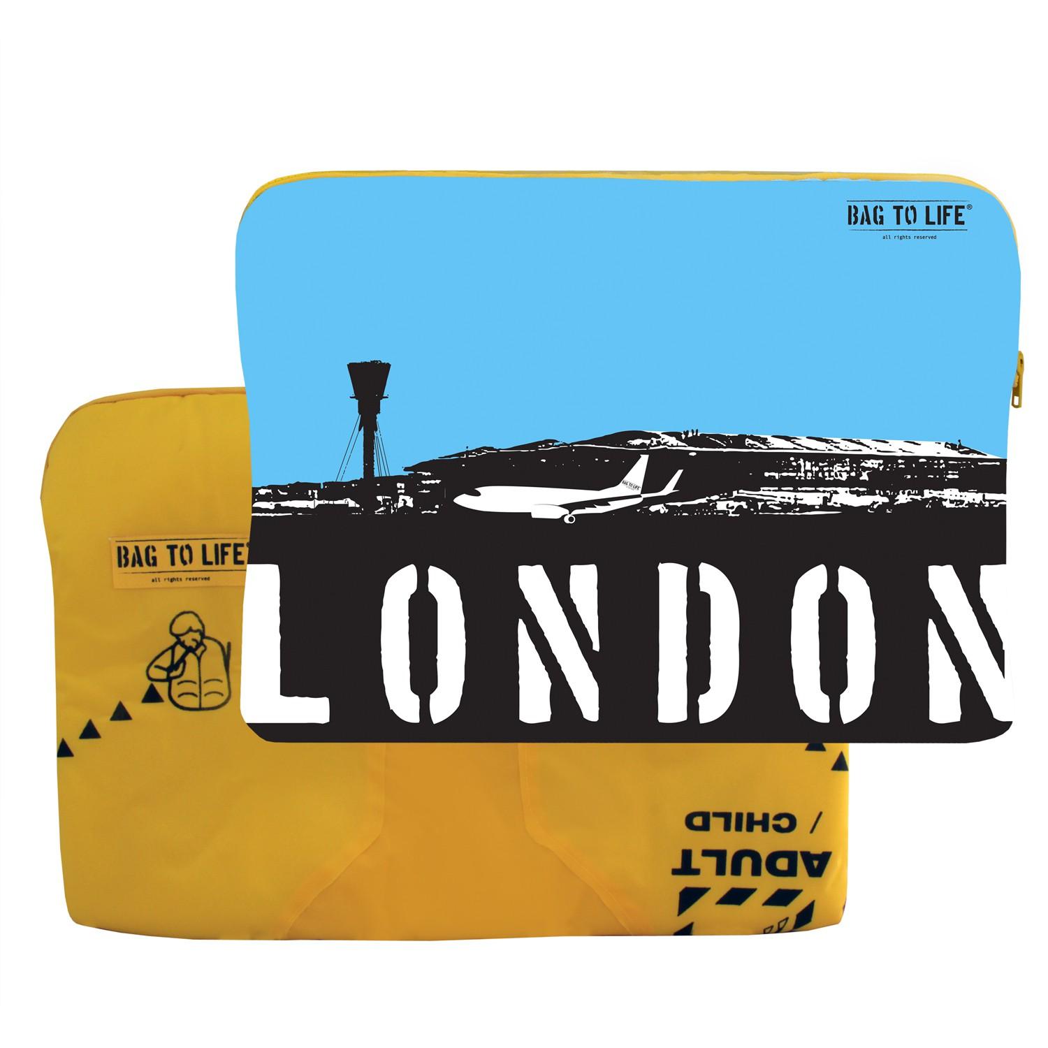 "BAG TO LIFE Laptop Sleeve ""London"" Laptoptasche UNIKAT Upcycling aus einer Rettungsweste"