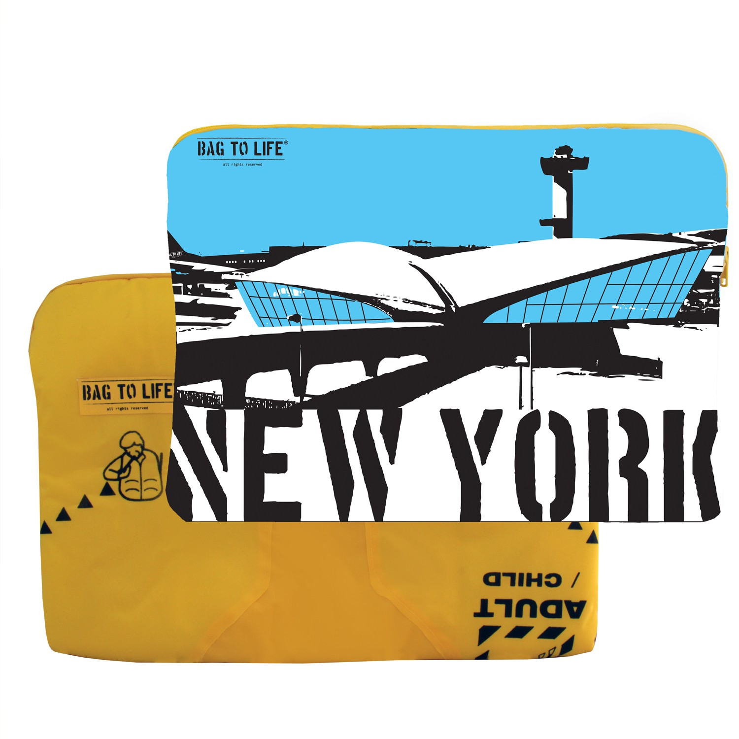 "BAG TO LIFE Laptop Sleeve ""New York"" Laptoptasche UNIKAT Upcycling aus einer Rettungsweste"