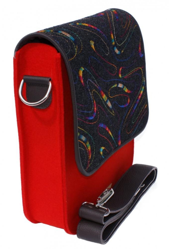 """Designer Filztasche """"Simple L"""" 100%Wollfilz mit Echtleder Gurt Messenger-Bag"""