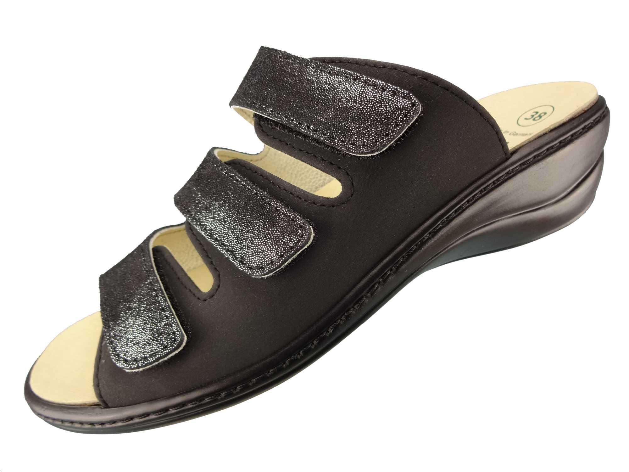 "Algemare Damen Leder Pantolette ""Nubuk Glitter"" Keilpantolette mit Algen-Kork Wechselfußbett Made in Germany 1239_0406"
