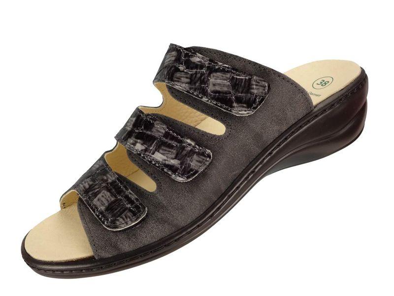 Algemare Damen Pantolette Fußbettpantolette Leder Keilpantolette mit Algen-Kork Wechselfußbett Leder Made in Germany 1239_2127 Sandalette Sandale Sommerschuh – Bild 1