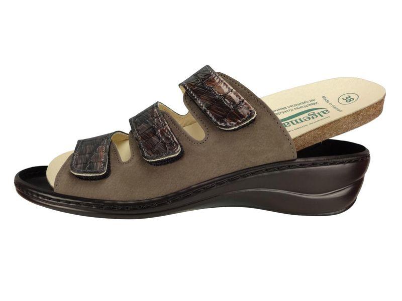 Algemare Damen Pantolette Fußbettpantolette Leder Keilpantolette mit Algen-Kork Wechselfußbett Leder Made in Germany 1239_4146 Sandalette Sandale Sommerschuh – Bild 2