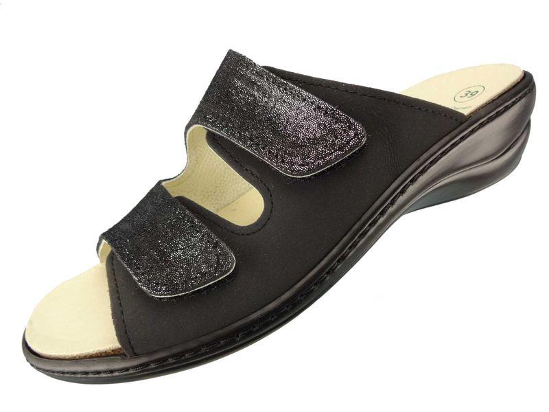 "Algemare Damen Leder Pantolette ""Nubuk Glitter""Keilpantolette mit Algen-Kork Wechselfußbett Made in Germany 1447_0406 – Bild 1"
