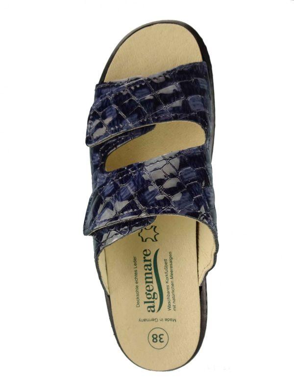"Algemare Damen Leder Pantolette ""Atlantik Kroko"" Keilpantolette mit Algen-Kork Wechselfußbett Made in Germany 1447_8267 – Bild 3"