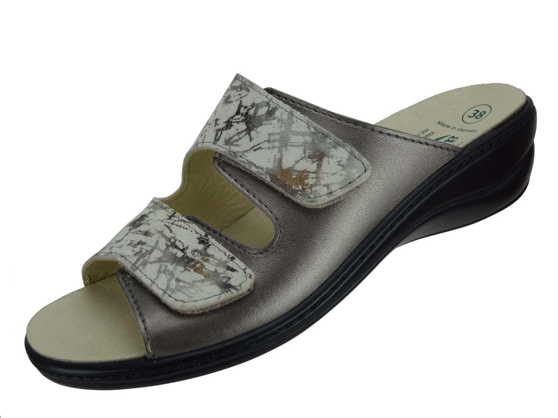 Algemare Damen Pantolette Leder in Krokoprägung Keilpantolette mit Algen-Kork Leder Wechselfußbett Made in Germany 1447_9397