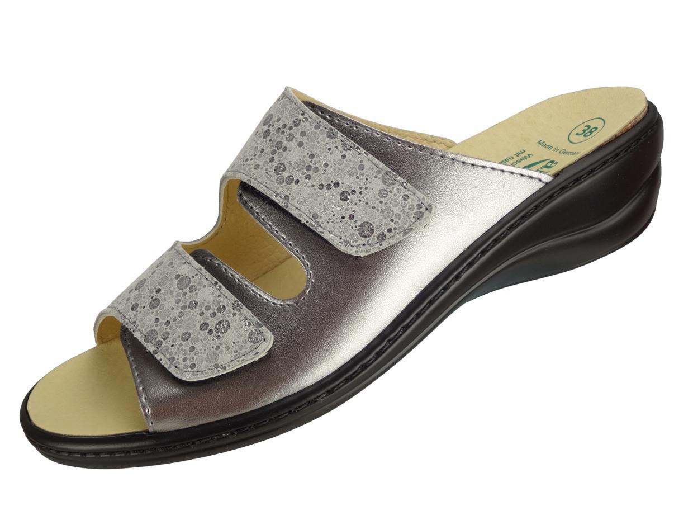 "Algemare Damen Leder Pantolette ""Mineral Steel"" Keilpantolette mit Algen-Kork Wechselfußbett Made in Germany 1447_9926"