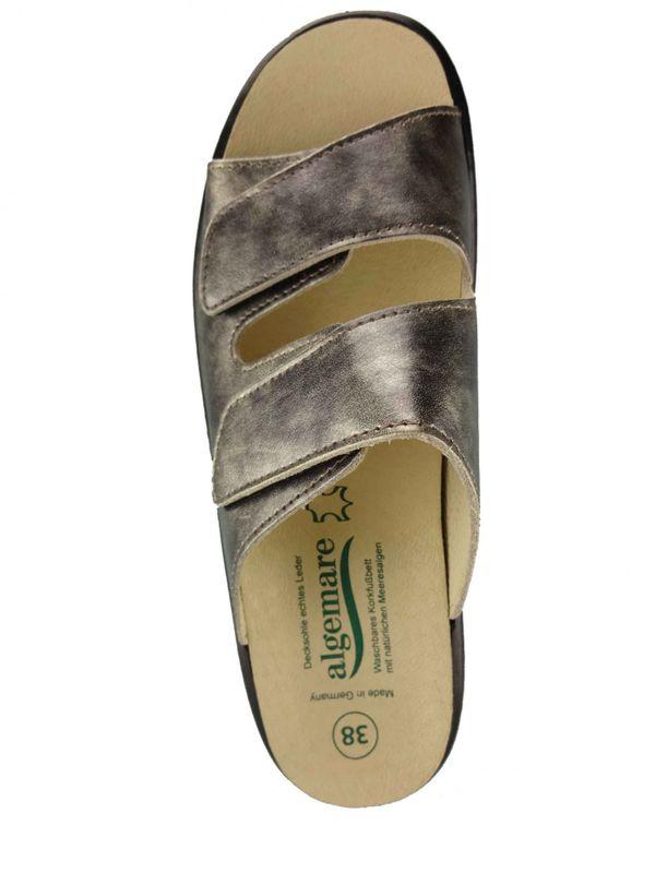 "Algemare Damen Pantolette ""Smoke Nappino"" Keilpantolette mit Algen-Kork Wechselfußbett Made in Germany 1447_9943 – Bild 3"