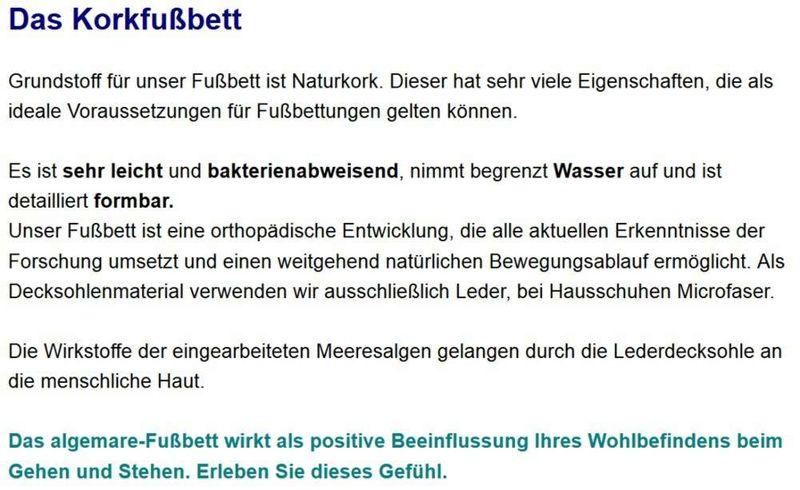 Algemare Damen Pantolette Nappa Leder Keilpantolette mit Algen-Kork Wechselfußbett Made in Germany 1458_0101 – Bild 4