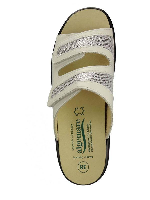 """Algemare Damen Pantolette """"White Nappino"""" Keilpantolette mit Algen-Kork Wechselfußbett Made in Germany 1468_1011 – Bild 3"""