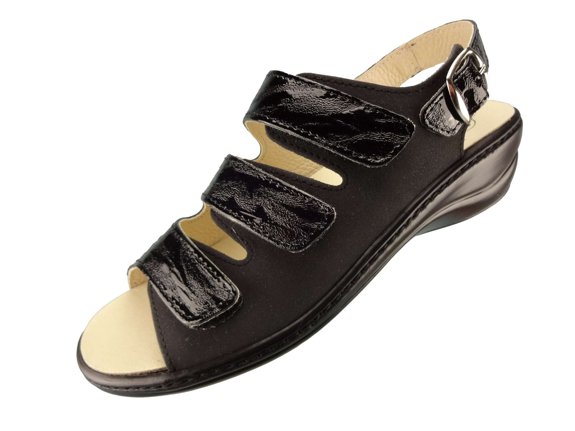 Algemare Damen Sandalette Nubuk Rigato Keilpantolette mit Algen-Kork Wechselfußbett Made in Germany 2317_0307 Sandale Fußbettsandale