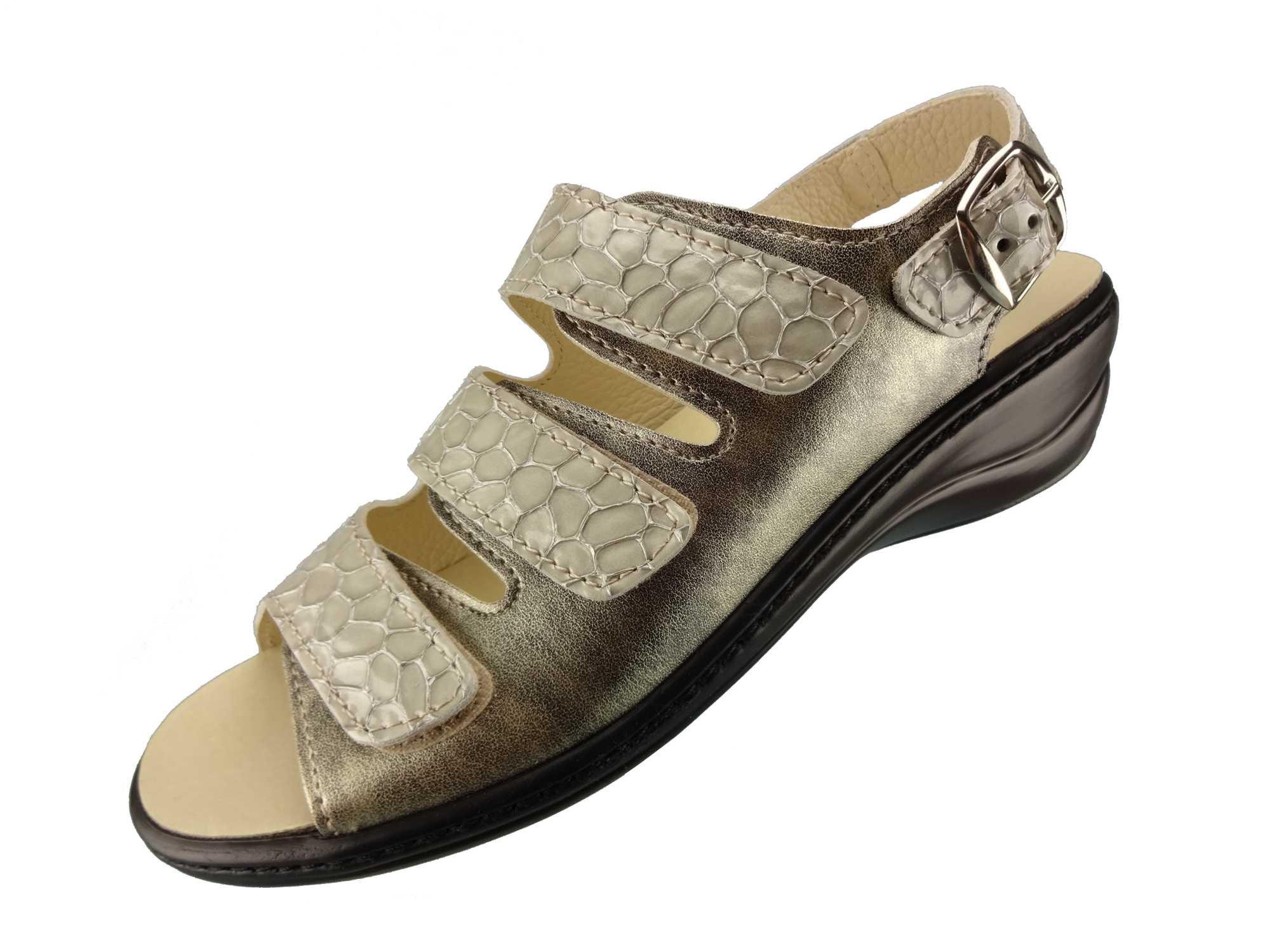 Algemare Damen Sandalette Kroko frozen Keilpantolette mit Algen-Kork Wechselfußbett Made in Germany 2317_2571 eleganter Freizeitschuh Fußbett Sandale