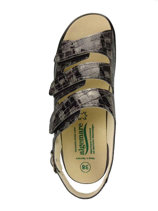 Algemare Damen Sandalette Blei Kroko Keilpantolette mit Algen-Kork Wechselfußbett Made in Germany 2317_2714 – Bild 3