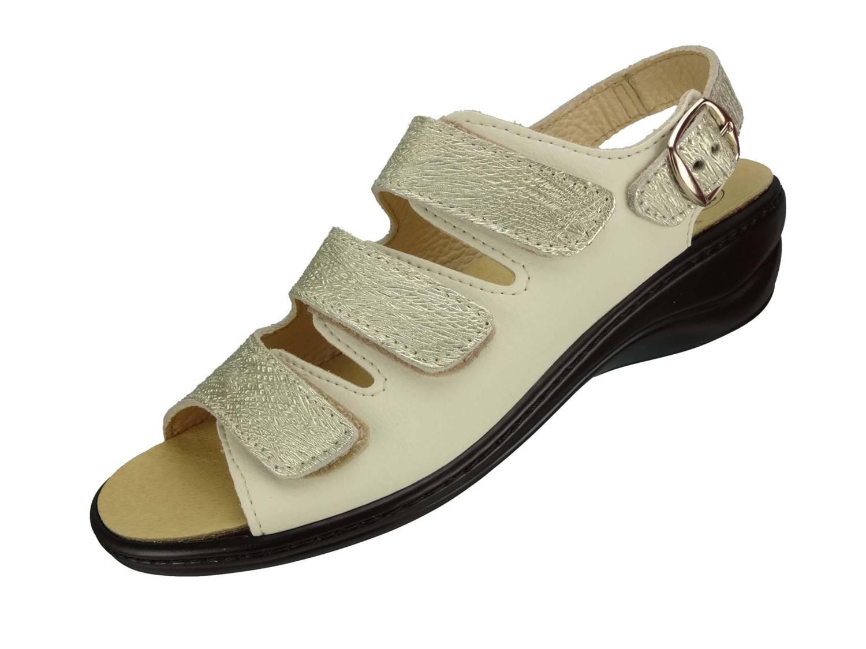 "Algemare Damen Sandalette ""Nappino Perla"" Keilsandalette mit Algen-Kork Wechselfußbett Made in Germany 2317_3884"