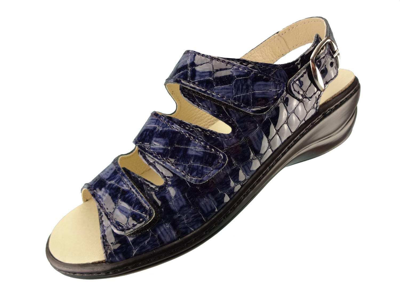 Algemare Damen Sandalette Atlantik Kroko Keilpantolette mit Algen-Kork Wechselfußbett Made in Germany 2317_8267