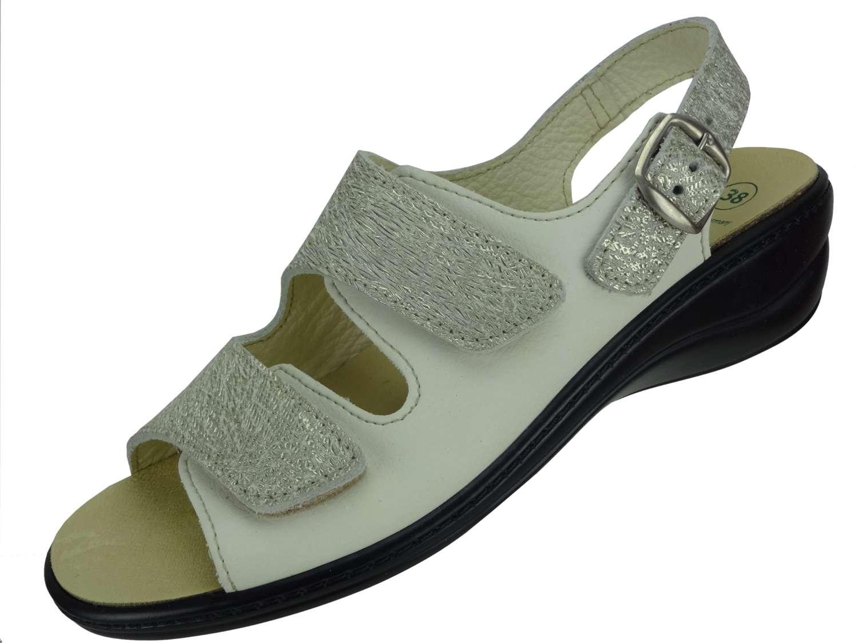 Algemare Damen Sandalette Cotone Nappino Keilpantolette mit Algen-Kork Wechselfußbett Made in Germany 2479_3884 eleganter Freizeitschuh