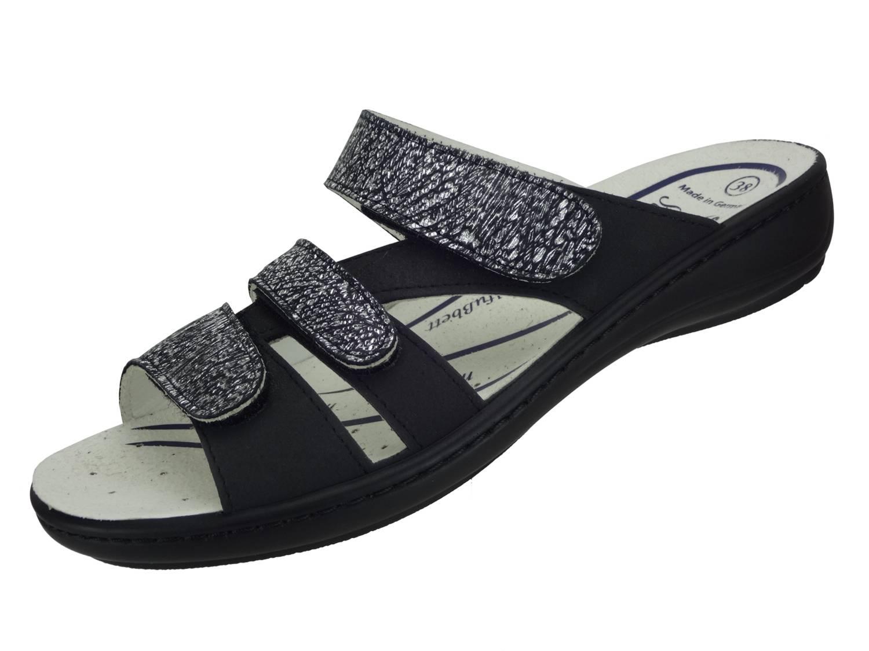 """Algemare Damen Leder Pantolette """"Nubuk Graphit"""" mit Sani-Pur Wechselfußbett Made in Germany 3416_0488 Damen Sandale mit Absatz Sandalette"""