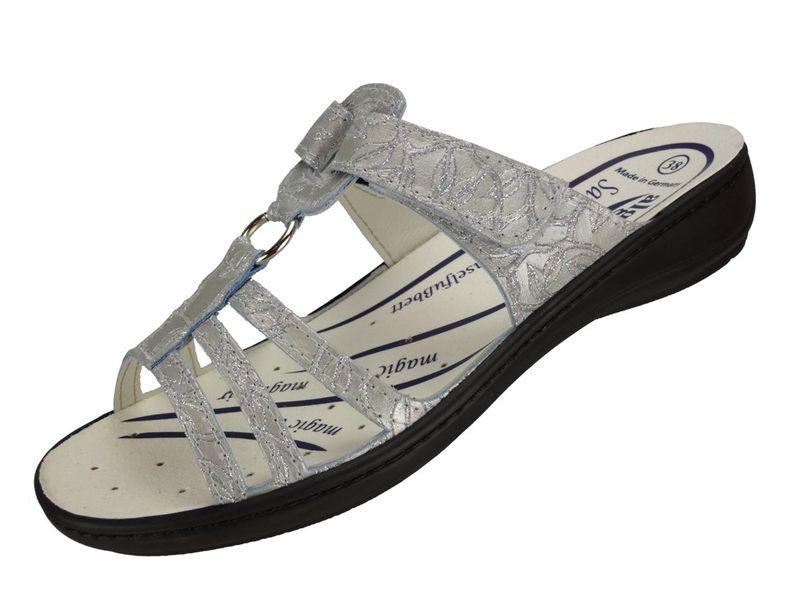 Algemare Damen Leder Pantolette mit waschbarem Sani-Pur Wechselfußbett Made in Germany 3464_8914 Sandale Sandalette – Bild 1