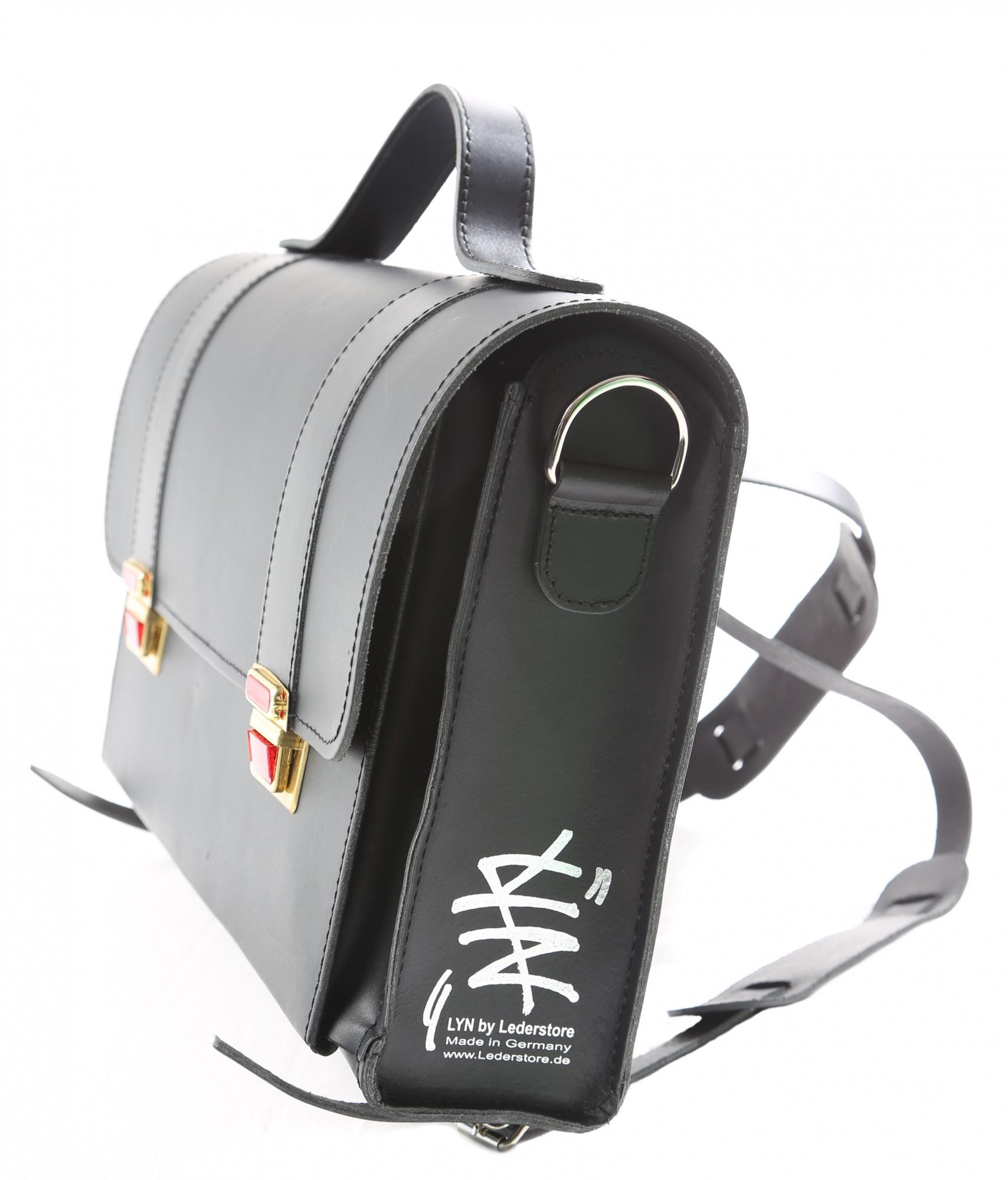 "Messenger Bag ""Tornister"" LYN by Lederstore Black Edition Echtleder Handarbeit Deutschland Business Bag"