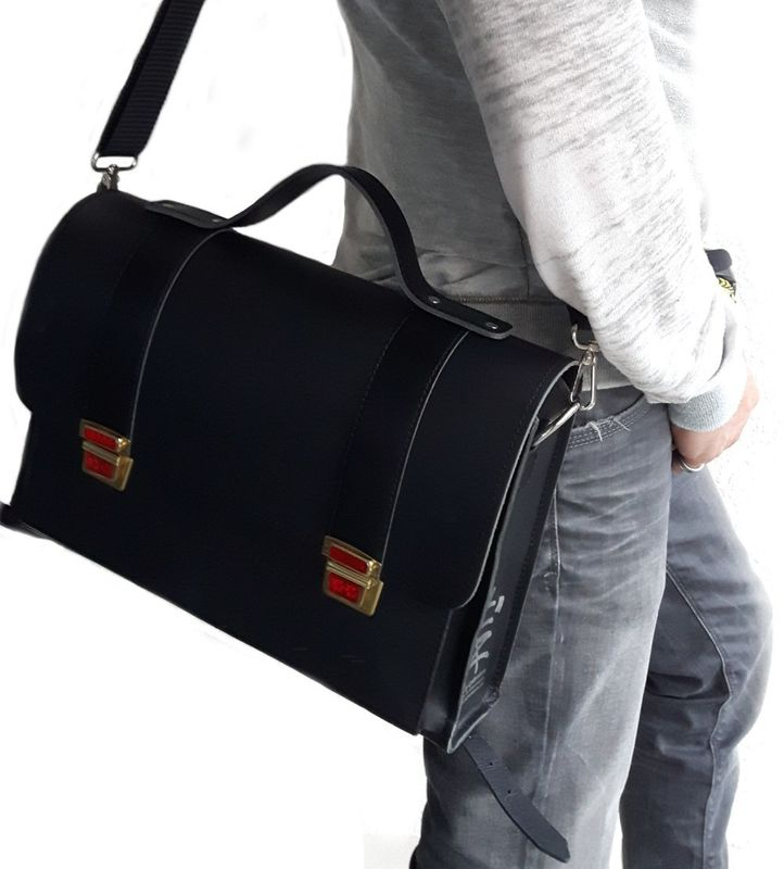 "Messenger Bag ""Tornister"" LYN by Lederstore Black Edition Echtleder Handarbeit Deutschland Business Bag – Bild 5"