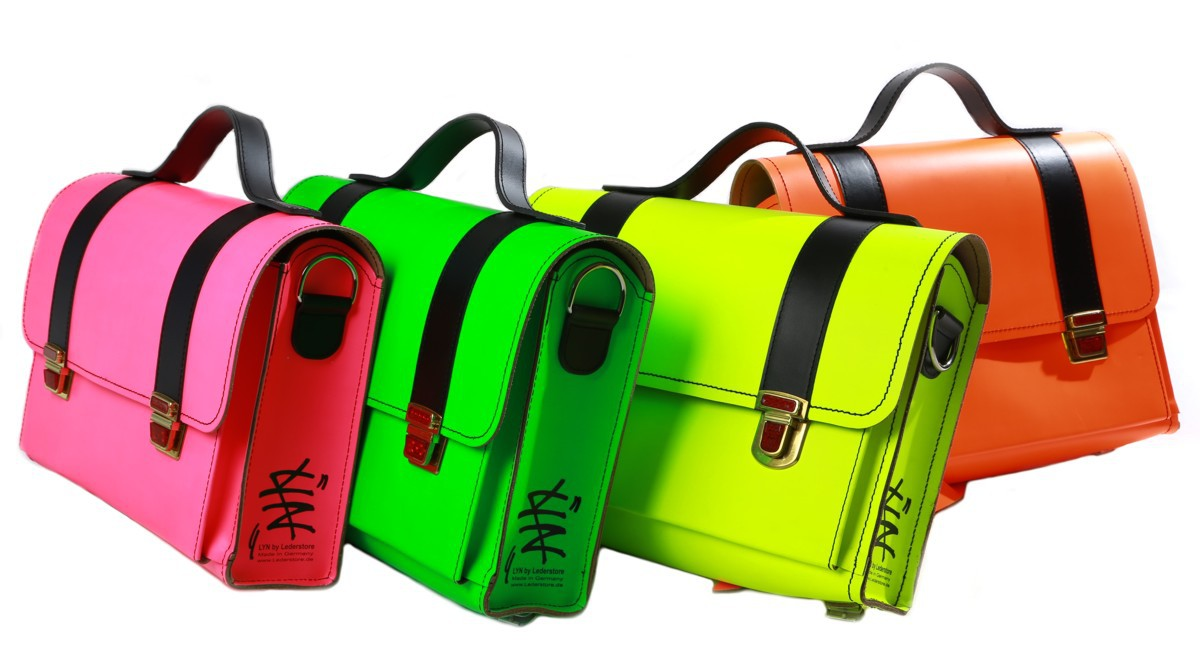 "Messenger Bag ""Tornister"" LYN by Lederstore NEON Edition Echtleder Handarbeit Deutschland Business Bag"