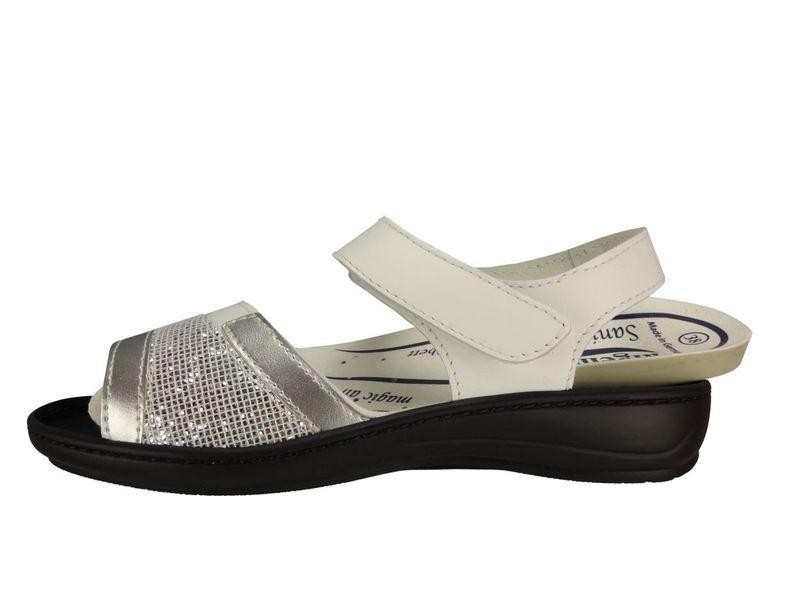 """Algemare Damen Leder Sandalette """"White"""" mit Sani-Pur Wechselfußbett waschbar Made in Germany 3621_1127 Fußbettsandale Pantolette  – Bild 2"""