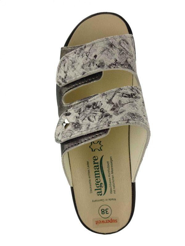 """Algemare Damen Pantolette """"Smoke brizzolato"""" Keilpantolette superweit mit Algen-Kork Wechselfußbett Made in Germany 4445_2425 – Bild 3"""