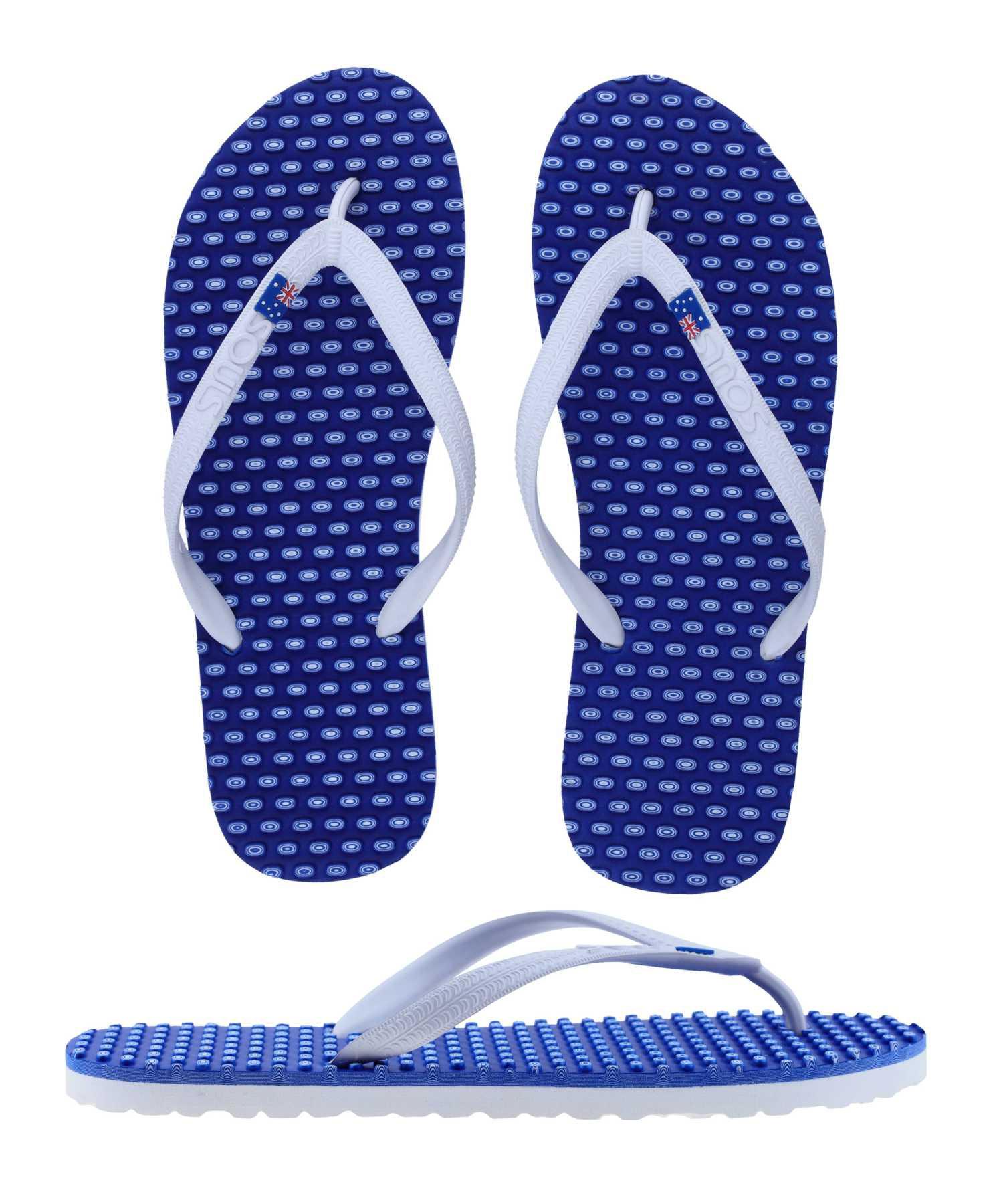 "SOULS Australian Thongs Zehentrenner Unisex Comfort Massage Sohle ""Barrier Reef Blue"" Sandale"