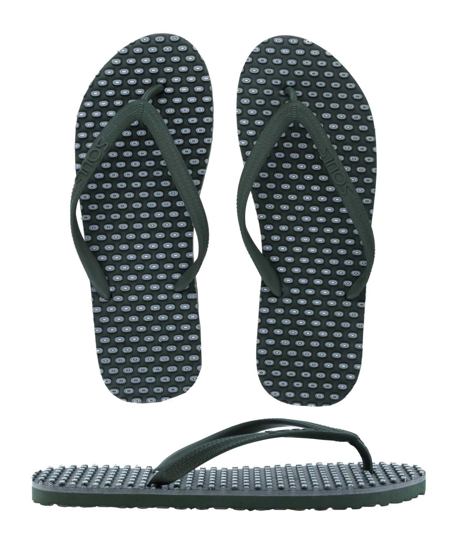 "SOULS Australian Thongs Zehentrenner Unisex Comfort Massage Noppen Sohle ""Outdoor Green"" Sandale Wellness Badeschuhe"