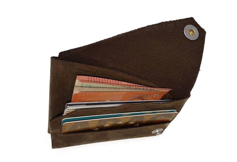 Mini Falt Geldbeutel LYN by Lederstore Echtleder Geldbörse fein gearbtes weiches Leder Vintage Look Wallet Portemonnaie – Bild 3