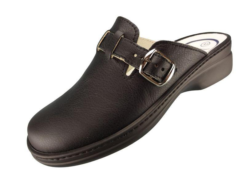 """Algemare Damen Clog Nappaleder """"Black"""" mit waschbarem Sani-pur Wechselfußbett Pantolette 5922_0101 Sandalette – Bild 1"""