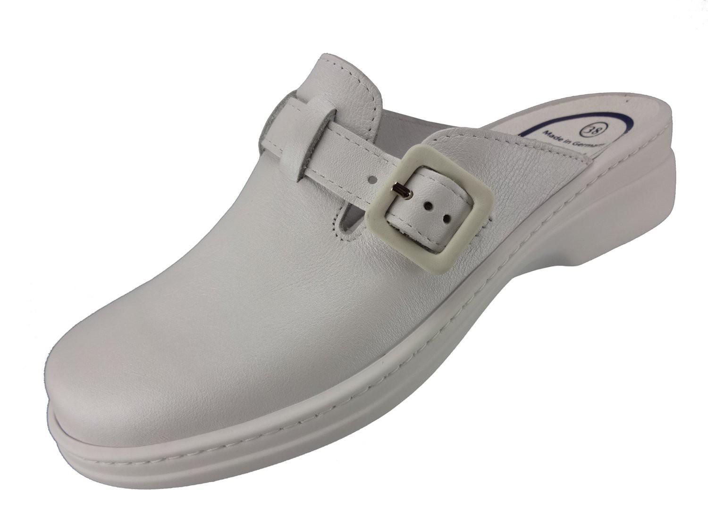 """Algemare Damen Clog Nappaleder """"White"""" mit waschbarem Sani-pur Wechselfußbett Pantolette 5922_1111 Sandalette"""