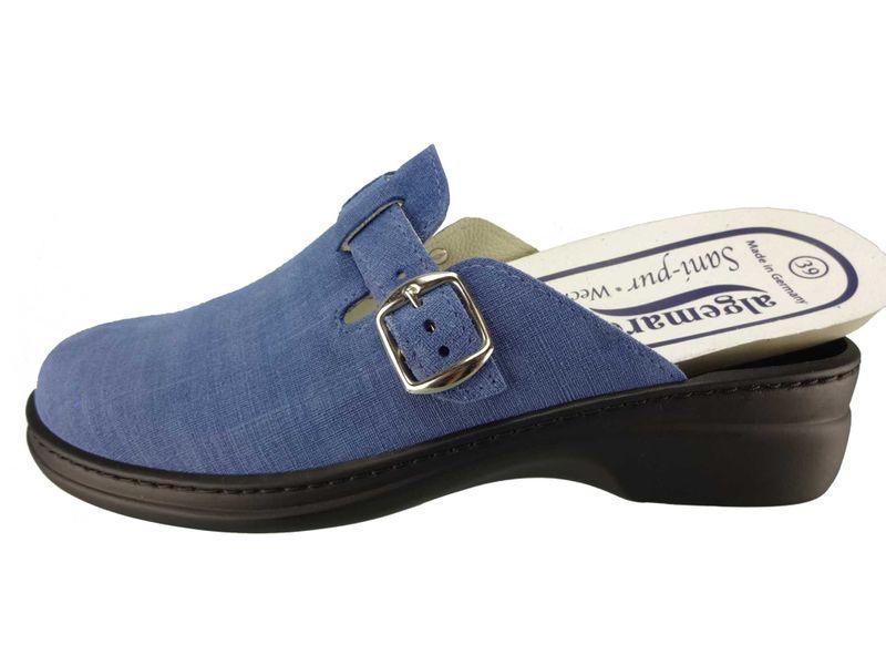 """Algemare Damen Clog Nubukleder """"Jeans"""" mit waschbarem Sani-pur Wechselfußbett Pantolette 5922_8787 Sandalette – Bild 2"""