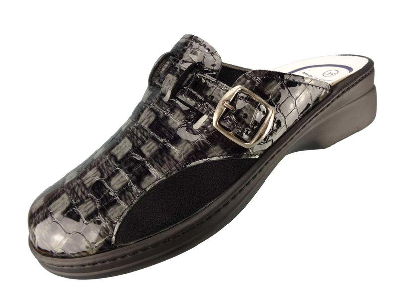 """Algemare Damen Clog Lackleder """"Black Stretch"""" mit waschbarem Sani-pur Wechselfußbett Pantolette 5925_2714 Sandalette – Bild 1"""