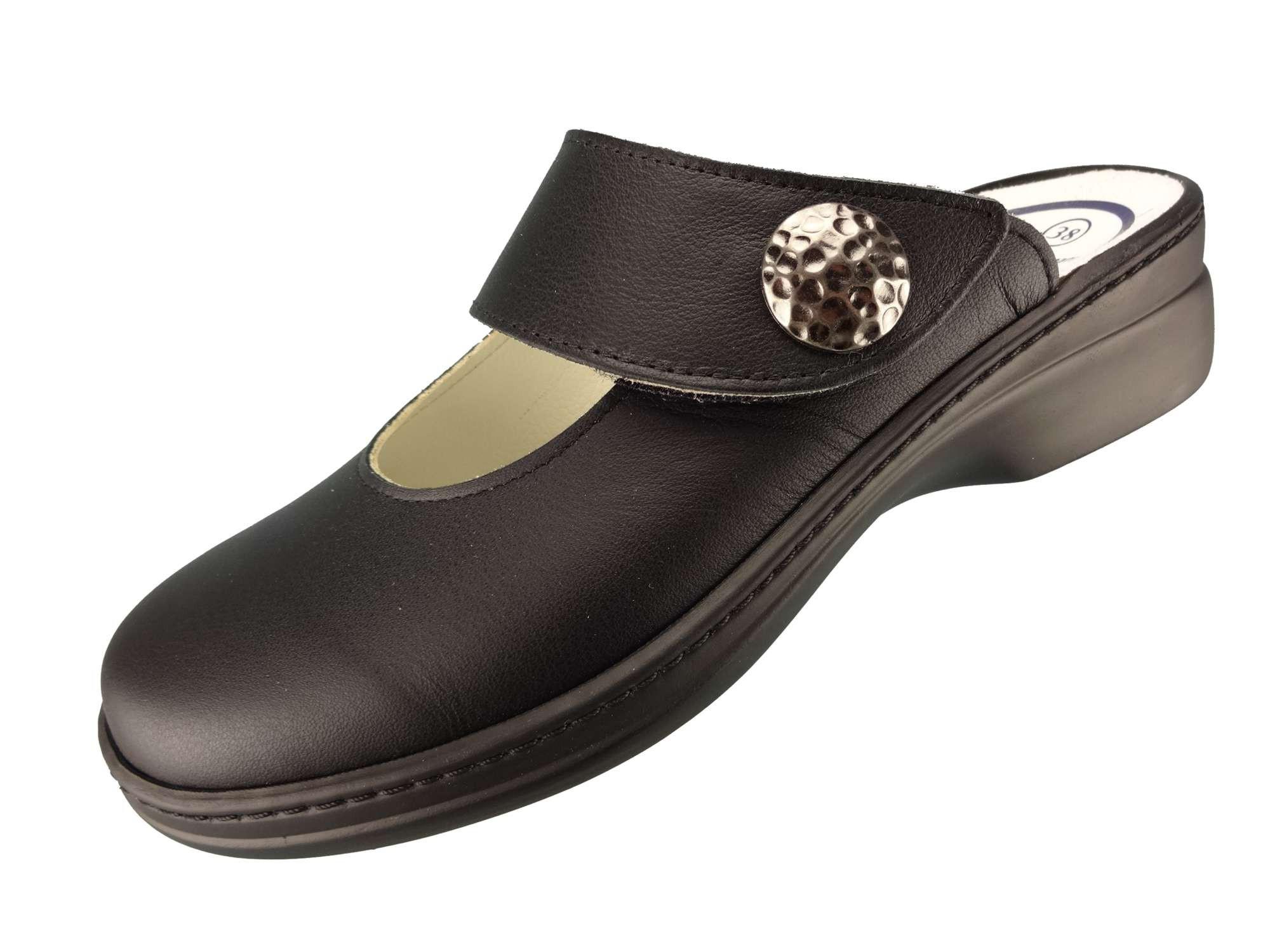 Algemare Damen Clog Nappaleder mit Sani-pur Wechselfußbett Pantolette 5948_0101 Sandalette