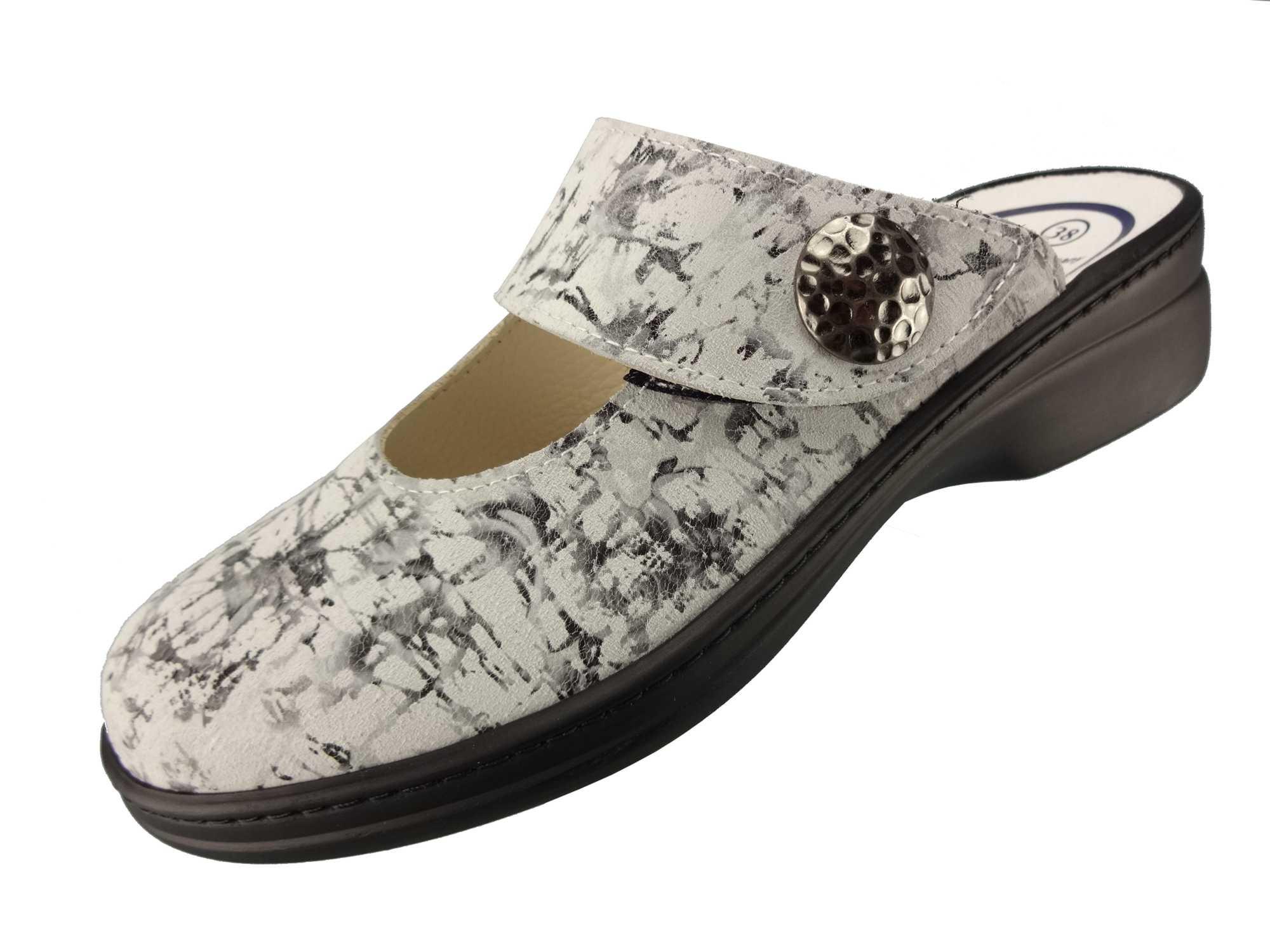 Algemare Damen Clog Fantasieleder Brizzolato mit Sani-pur Wechselfußbett Pantolette 5948_2425 Sandalette